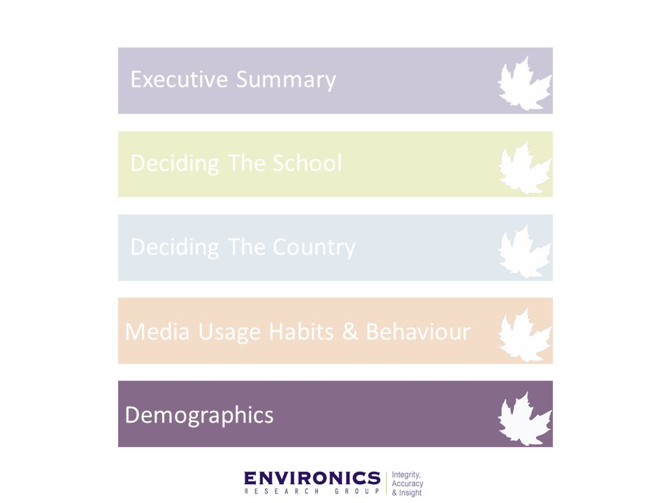 Media Usage Habits & Behaviour Executive Summary Deciding The School Deciding The Country Demographics