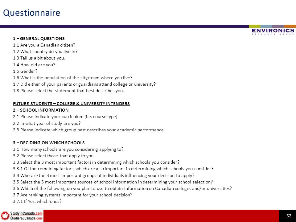 52 Questionnaire 1 – GENERAL QUESTIONS 1.1 Are you a Canadian citizen.