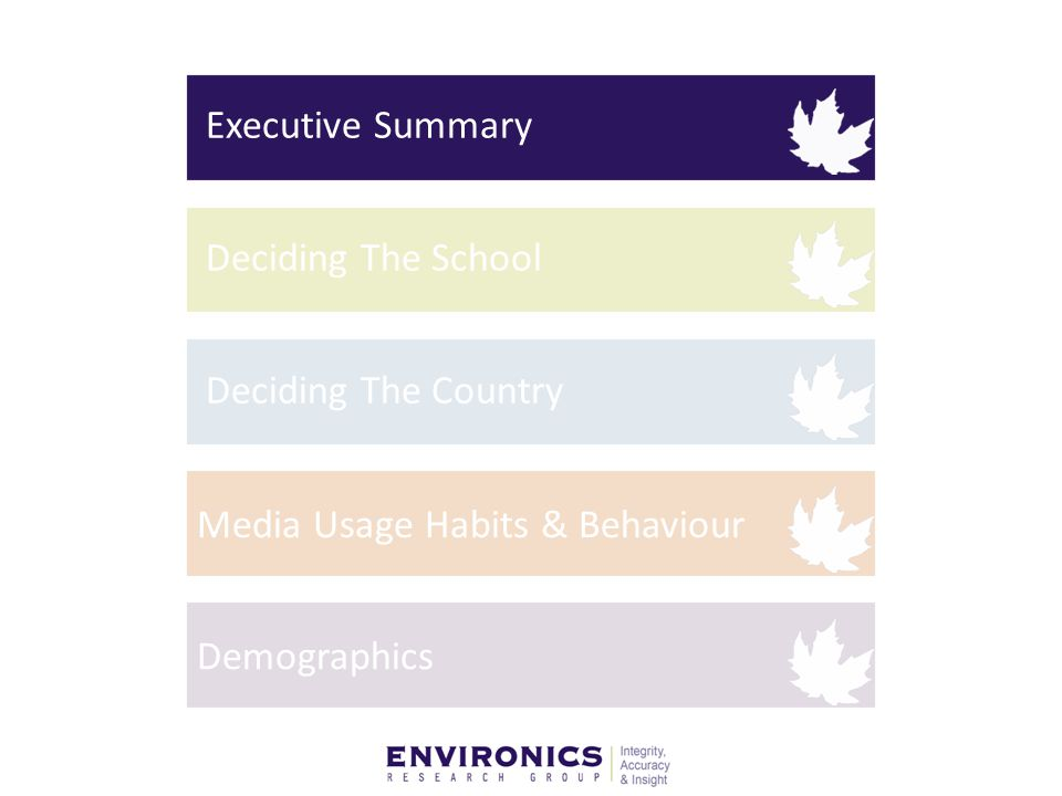 7 Executive Summary Demographics Significant male skew is prevalent among students in the major international markets surveys – May be due to both cultural and economic reasons – Many have parents who entered higher education Note: Respondents from the African continent are more likely to be the first in their family to get higher education School Selection It is critical for schools to be on the top three school list – More than half of the respondents applied to less than three schools Keep in mind the cost of education for foreign students – Scholarships, program, cost and academics are ranked highest in importance as factors in deciding schools