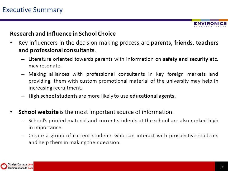 19 Parents, friends, teachers & professional consultants exert highest influence on school selection.