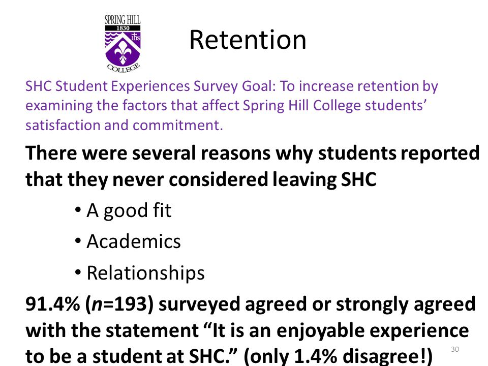 Retention SHC Student Experiences Survey Goal: To increase retention by examining the factors that affect Spring Hill College students satisfaction and commitment.