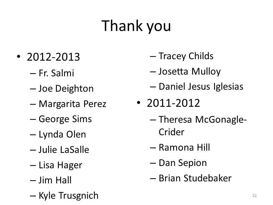 Thank you 2012-2013 – Fr.
