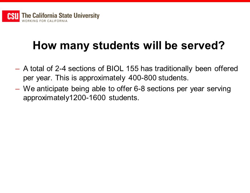 How many students will be served.