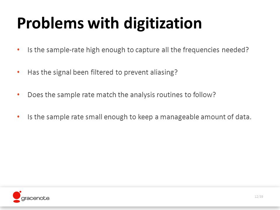 12/39 Problems with digitization Is the sample-rate high enough to capture all the frequencies needed.