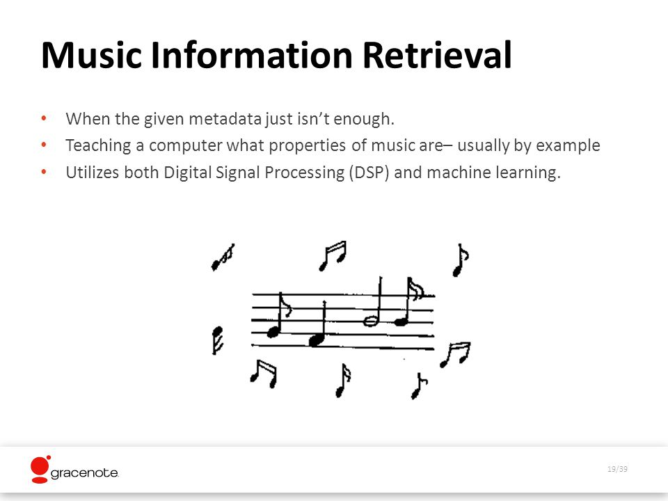 19/39 Music Information Retrieval When the given metadata just isnt enough.
