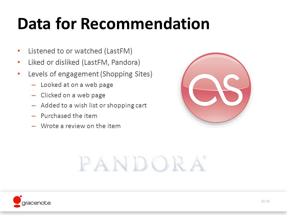 30/39 Data for Recommendation Listened to or watched (LastFM) Liked or disliked (LastFM, Pandora) Levels of engagement (Shopping Sites) – Looked at on a web page – Clicked on a web page – Added to a wish list or shopping cart – Purchased the item – Wrote a review on the item