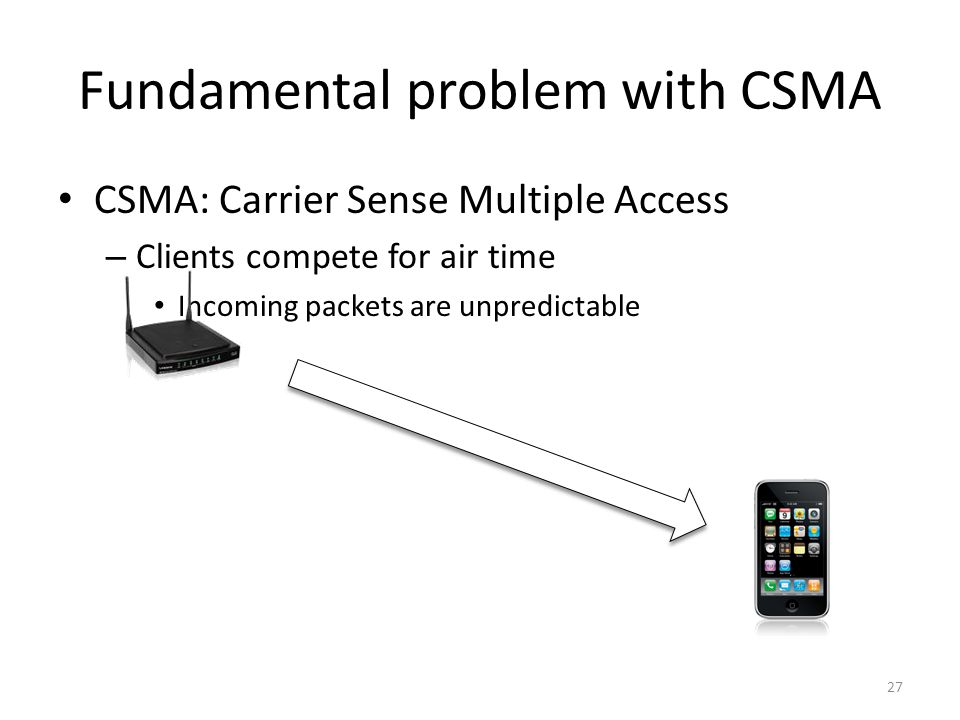 Fundamental problem with CSMA CSMA: Carrier Sense Multiple Access – Clients compete for air time Incoming packets are unpredictable 27