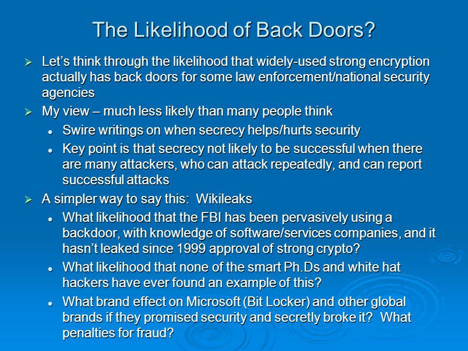 The Likelihood of Back Doors.