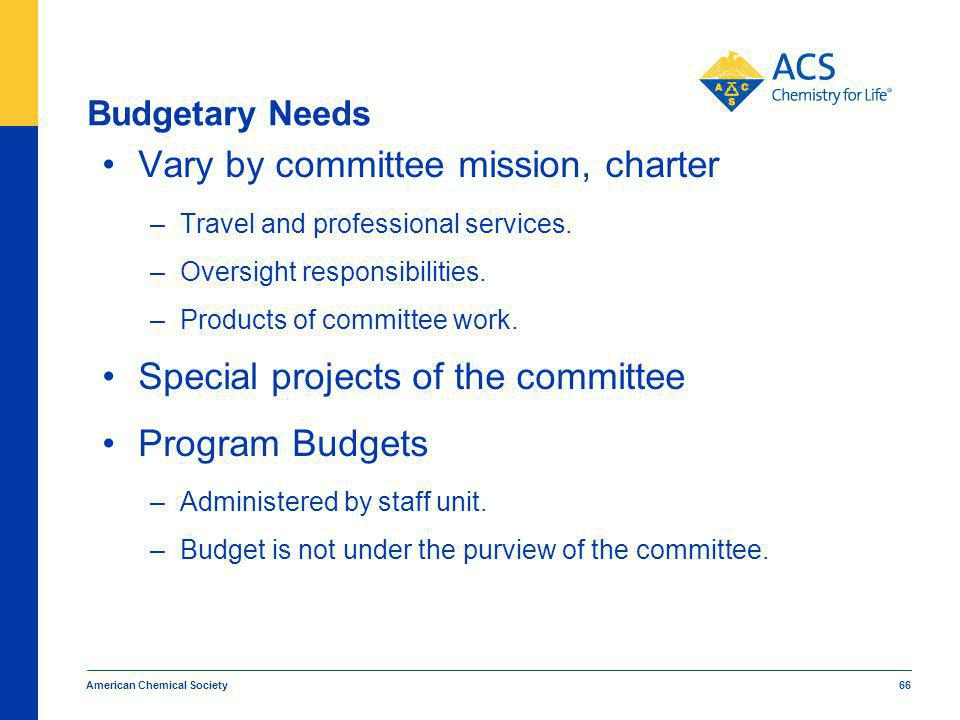 American Chemical Society 66 Budgetary Needs Vary by committee mission, charter –Travel and professional services.