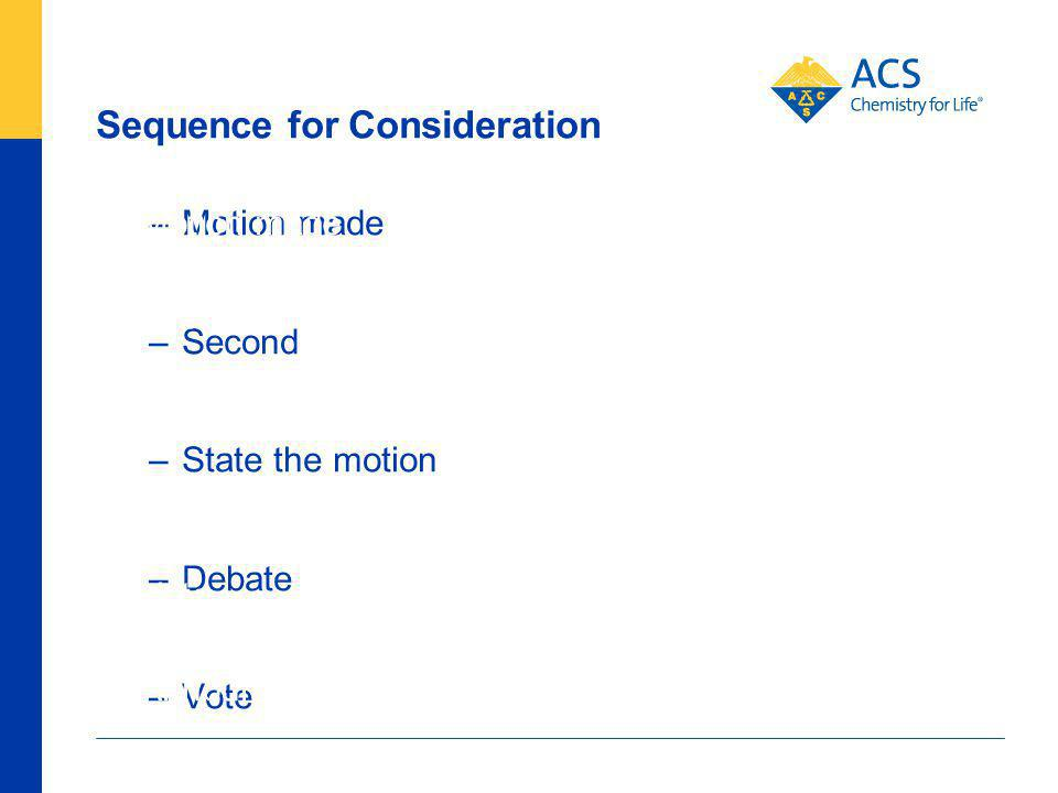 Sequence for Consideration 85 American Chemical Society –Motion made –Second –State the motion –Debate –Vote –Announce the vote –Motion made –Second –State the motion –Debate –Vote –Announce the vote Mover controls Committee controls
