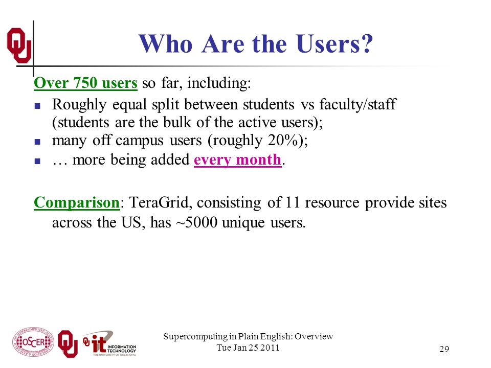 Supercomputing in Plain English: Overview Tue Jan 25 2011 29 Who Are the Users.