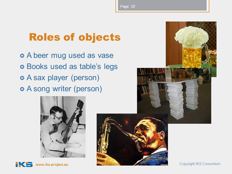 www.iks-project.eu Page: Roles of objects A beer mug used as vase Books used as tables legs A sax player (person) A song writer (person) 22 Copyright IKS Consortium