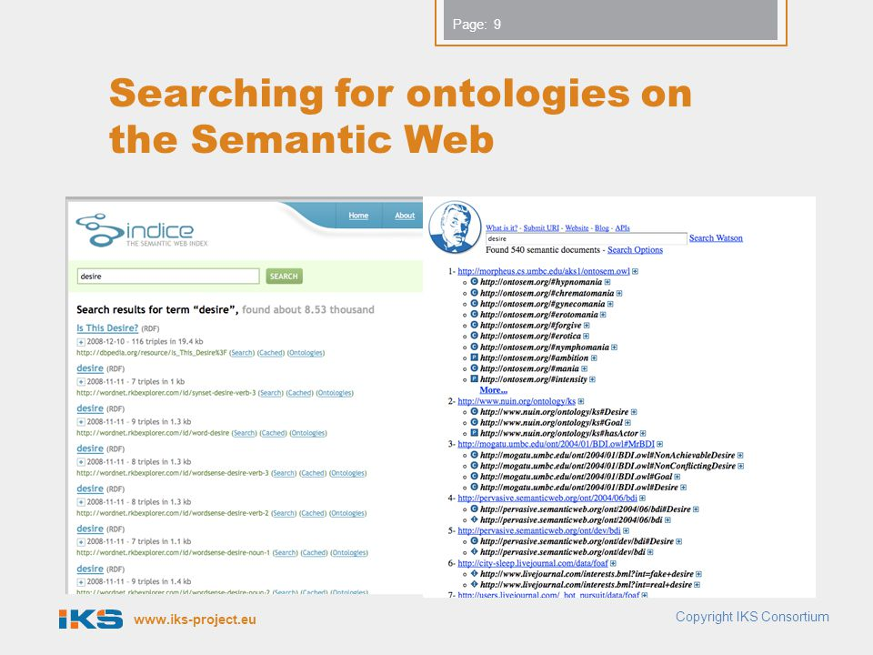 www.iks-project.eu Page: Searching for ontologies on the Semantic Web 9 Copyright IKS Consortium