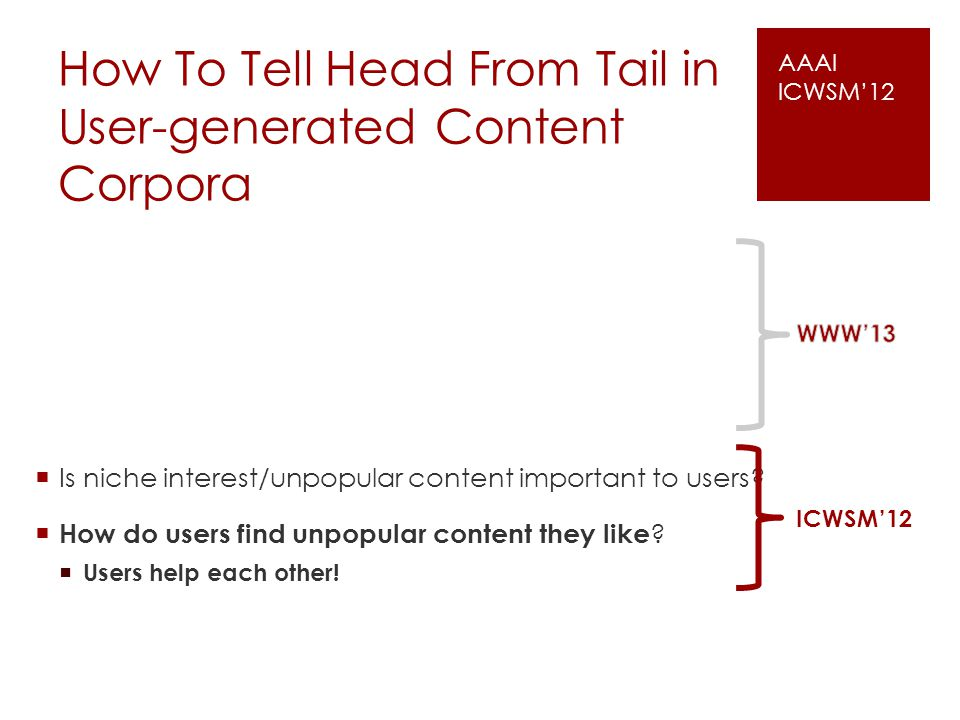 How To Tell Head From Tail in User-generated Content Corpora Is niche interest/unpopular content important to users? How do users find unpopular conte