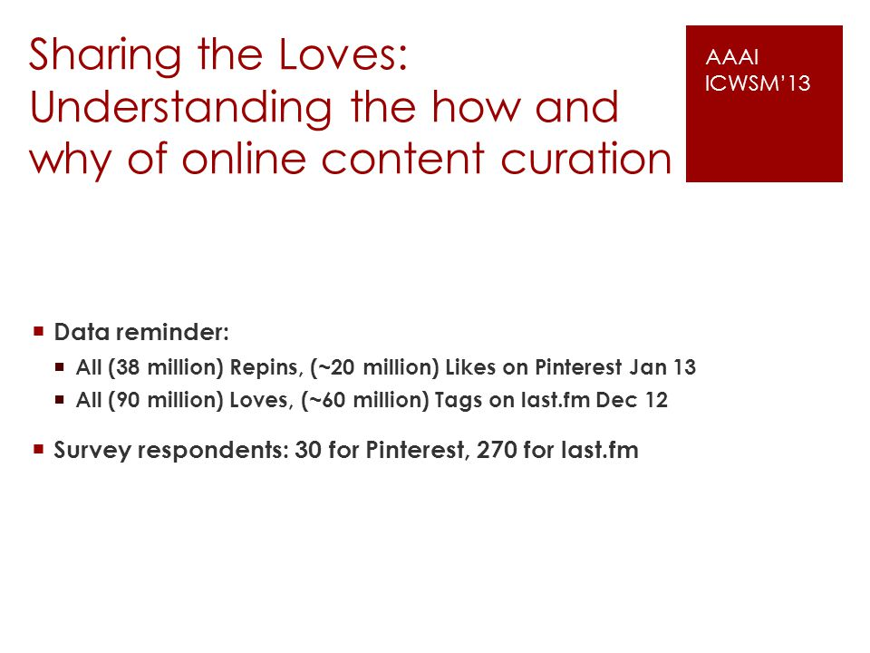 Sharing the Loves: Understanding the how and why of online content curation Data reminder: All (38 million) Repins, (~20 million) Likes on Pinterest Jan 13 All (90 million) Loves, (~60 million) Tags on last.fm Dec 12 Survey respondents: 30 for Pinterest, 270 for last.fm AAAI ICWSM13