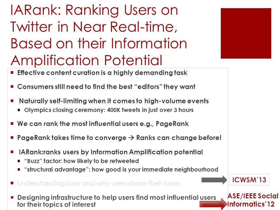 IARank: Ranking Users on Twitter in Near Real-time, Based on their Information Amplification Potential ASE/IEEE Social Informatics12