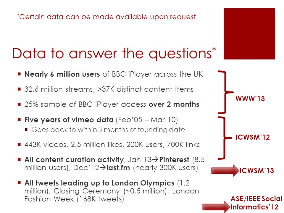 Data to answer the questions * Nearly 6 million users of BBC iPlayer across the UK 32.6 million streams, >37K distinct content items 25% sample of BBC iPlayer access over 2 months Five years of vimeo data (Feb05 – Mar10) Goes back to within 3 months of founding date 443K videos, 2.5 million likes, 200K users, 700K links All content curation activity, Jan13 Pinterest (8.5 million users), Dec12 last.fm (nearly 300K users) All tweets leading up to London Olympics (1.2 million), Closing Ceremony (~0.5 million), London Fashion Week (168K tweets) WWW13 ICWSM12 ICWSM13 ASE/IEEE Social Informatics12 * Certain data can be made available upon request