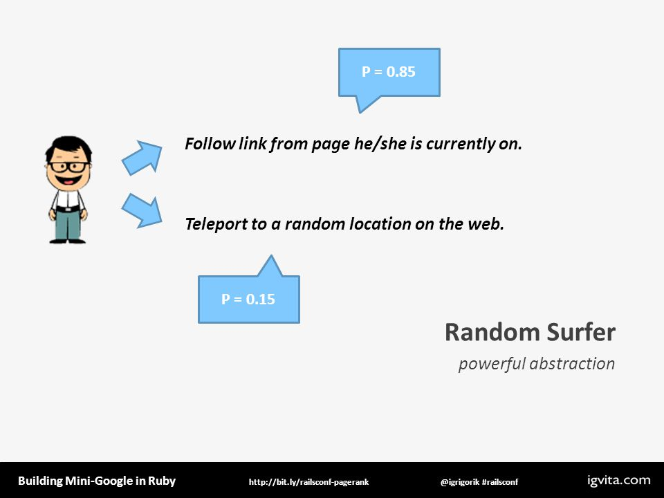 Building Mini-Google in Ruby @igrigorik #railsconfhttp://bit.ly/railsconf-pagerank Random Surfer powerful abstraction Follow link from page he/she is currently on.