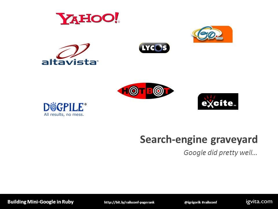 Building Mini-Google in Ruby @igrigorik #railsconfhttp://bit.ly/railsconf-pagerank Search-engine graveyard Google did pretty well…