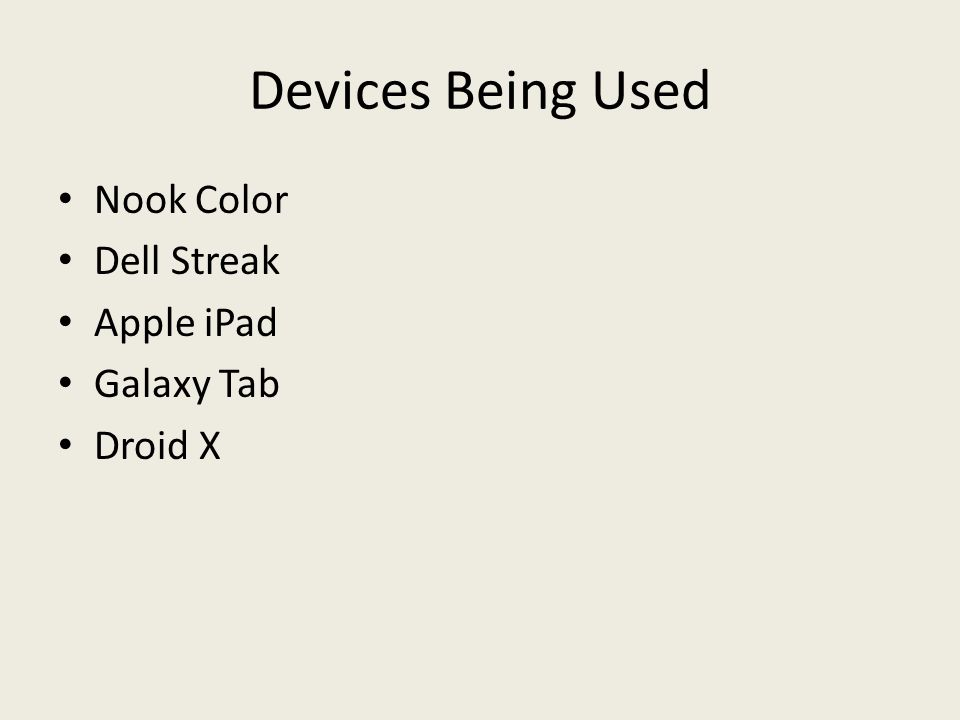 Devices Being Used Nook Color Dell Streak Apple iPad Galaxy Tab Droid X