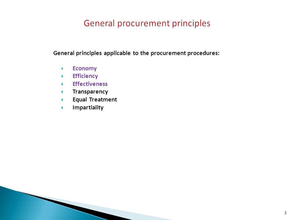 General principles applicable to the procurement procedures: Economy Efficiency Effectiveness Transparency Equal Treatment Impartiality 3