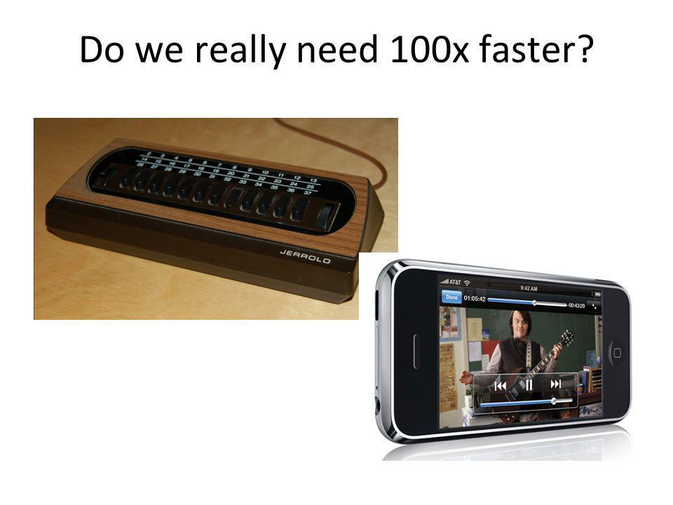 Do we really need 100x faster?