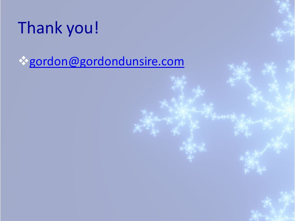 Thank you! gordon@gordondunsire.com