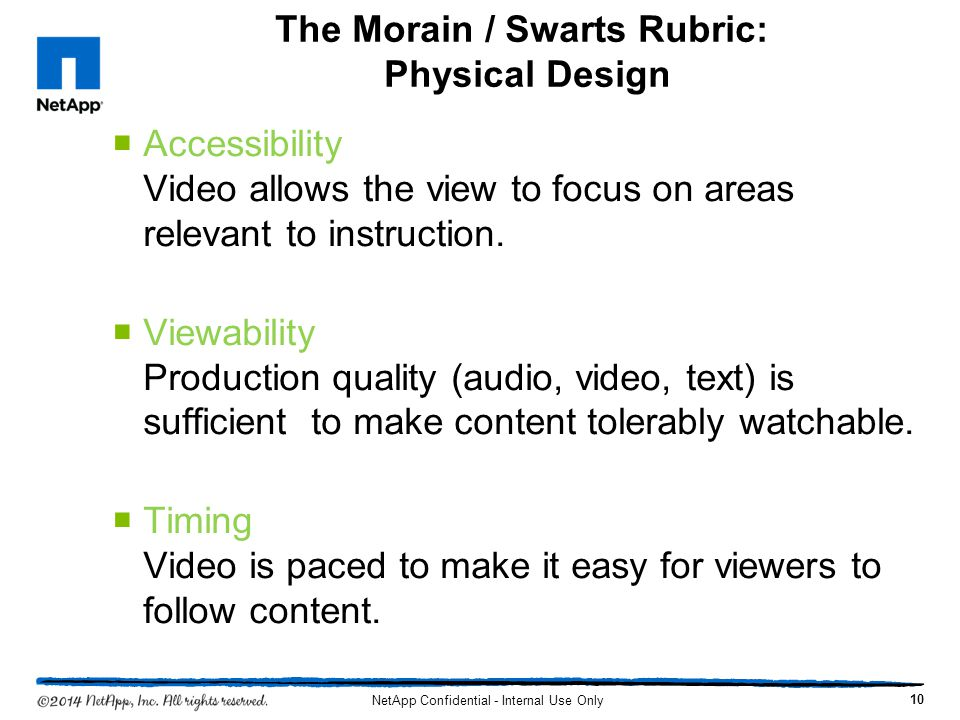The Morain / Swarts Rubric: Physical Design Accessibility Video allows the view to focus on areas relevant to instruction. Viewability Production qual