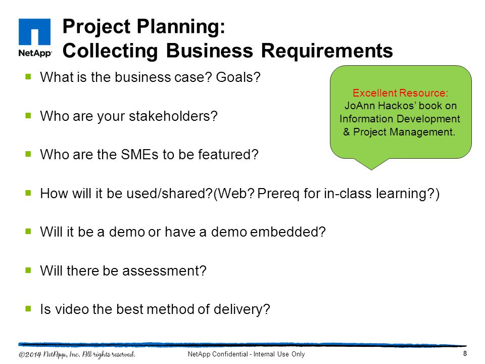 Project Planning: Collecting Business Requirements What is the business case.