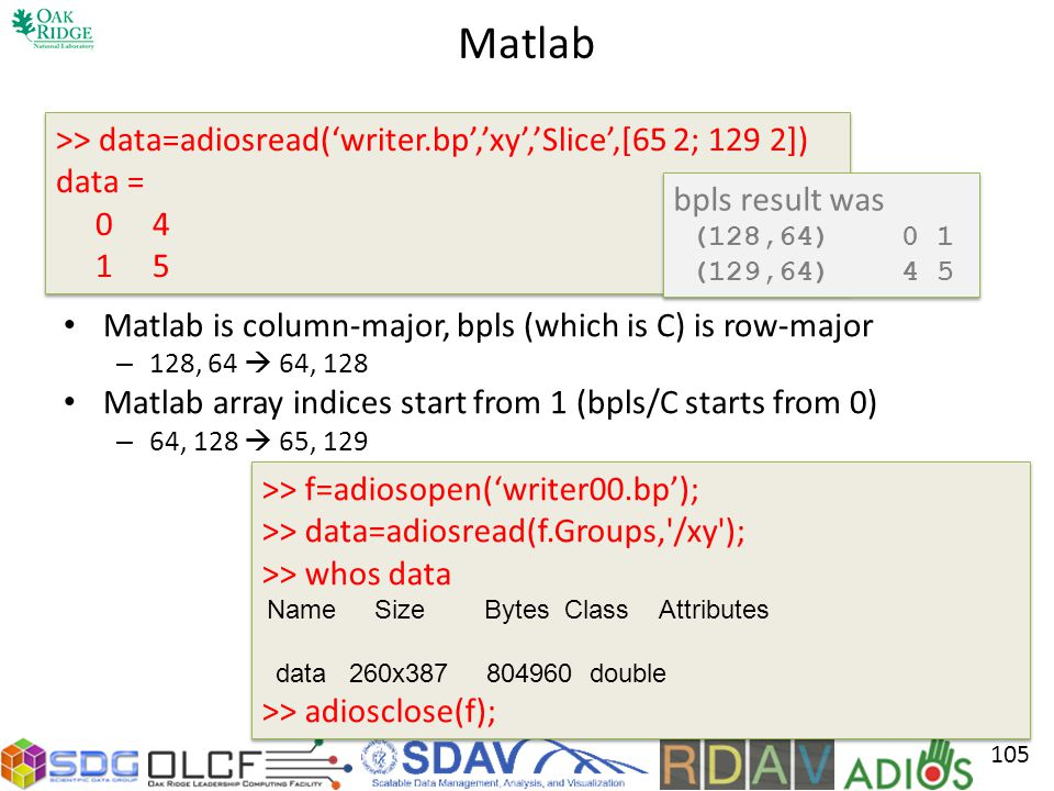 Matlab Matlab is column-major, bpls (which is C) is row-major – 128, 64 64, 128 Matlab array indices start from 1 (bpls/C starts from 0) – 64, 128 65, 129 105 >> data=adiosread(writer.bp,xy,Slice,[65 2; 129 2]) data = 0 4 1 5 >> data=adiosread(writer.bp,xy,Slice,[65 2; 129 2]) data = 0 4 1 5 >> f=adiosopen(writer00.bp); >> data=adiosread(f.Groups, /xy ); >> whos data Name Size Bytes Class Attributes data 260x387 804960 double >> adiosclose(f); >> f=adiosopen(writer00.bp); >> data=adiosread(f.Groups, /xy ); >> whos data Name Size Bytes Class Attributes data 260x387 804960 double >> adiosclose(f); bpls result was (128,64) 0 1 (129,64) 4 5 bpls result was (128,64) 0 1 (129,64) 4 5