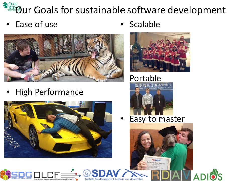Our Goals for sustainable software development Ease of use High Performance Scalable Portable Easy to master