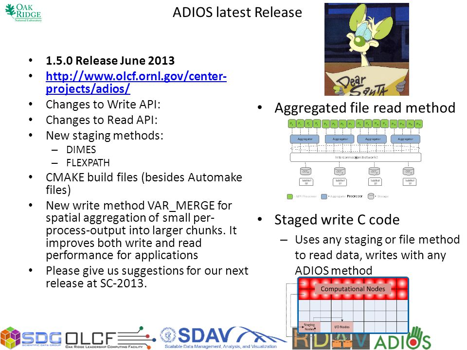 ADIOS latest Release 1.5.0 Release June 2013 http://www.olcf.ornl.gov/center- projects/adios/ http://www.olcf.ornl.gov/center- projects/adios/ Changes to Write API: Changes to Read API: New staging methods: – DIMES – FLEXPATH CMAKE build files (besides Automake files) New write method VAR_MERGE for spatial aggregation of small per- process-output into larger chunks.