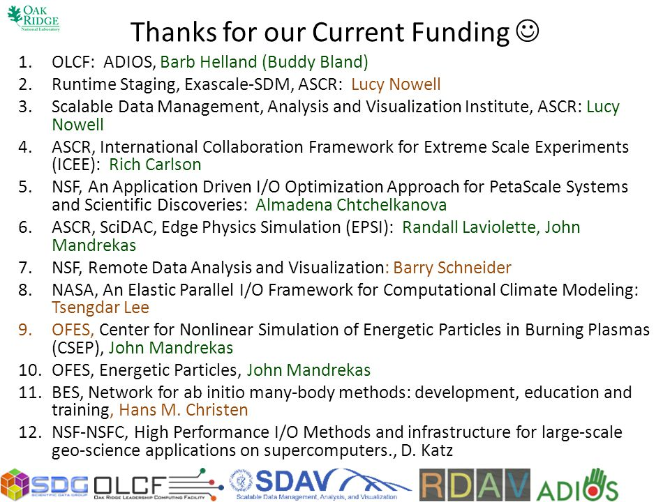 Thanks for our Current Funding 1.OLCF: ADIOS, Barb Helland (Buddy Bland) 2.Runtime Staging, Exascale-SDM, ASCR: Lucy Nowell 3.Scalable Data Management, Analysis and Visualization Institute, ASCR: Lucy Nowell 4.ASCR, International Collaboration Framework for Extreme Scale Experiments (ICEE): Rich Carlson 5.NSF, An Application Driven I/O Optimization Approach for PetaScale Systems and Scientific Discoveries: Almadena Chtchelkanova 6.ASCR, SciDAC, Edge Physics Simulation (EPSI): Randall Laviolette, John Mandrekas 7.NSF, Remote Data Analysis and Visualization: Barry Schneider 8.NASA, An Elastic Parallel I/O Framework for Computational Climate Modeling: Tsengdar Lee 9.OFES, Center for Nonlinear Simulation of Energetic Particles in Burning Plasmas (CSEP), John Mandrekas 10.OFES, Energetic Particles, John Mandrekas 11.BES, Network for ab initio many-body methods: development, education and training, Hans M.