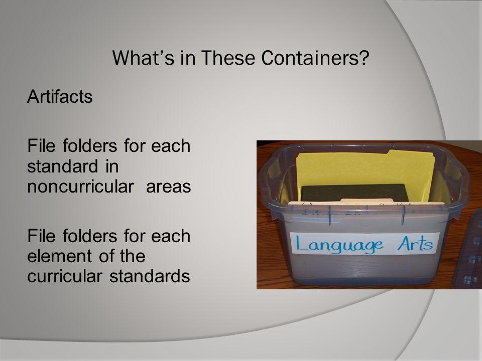 Whats in These Containers? Artifacts File folders for each standard in noncurricular areas File folders for each element of the curricular standards