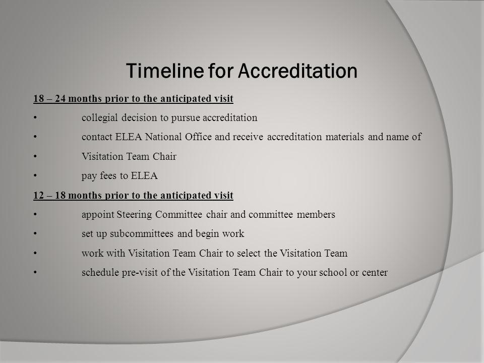 Timeline for Accreditation 18 – 24 months prior to the anticipated visit collegial decision to pursue accreditation contact ELEA National Office and r