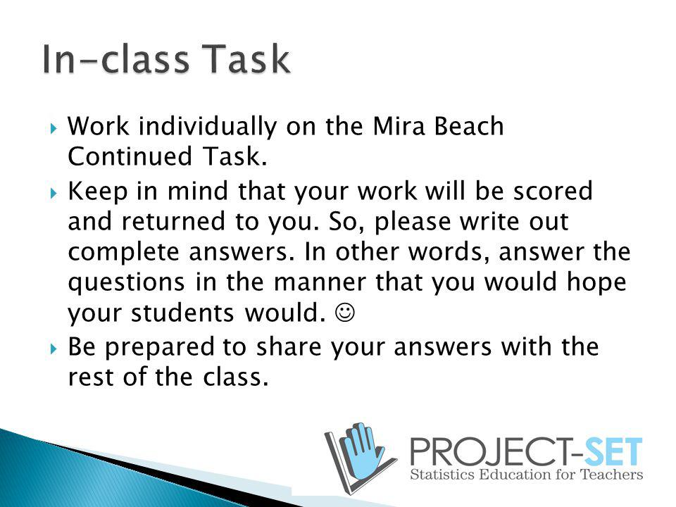 Work individually on the Mira Beach Continued Task. Keep in mind that your work will be scored and returned to you. So, please write out complete answ