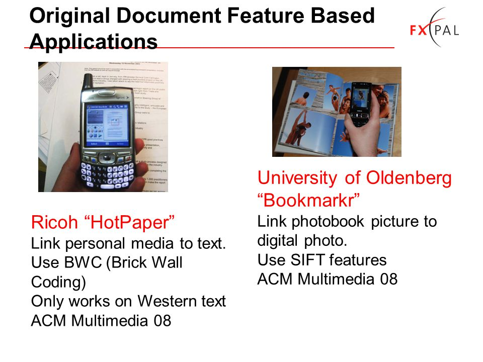 Original Document Feature Based Applications Ricoh HotPaper Link personal media to text.