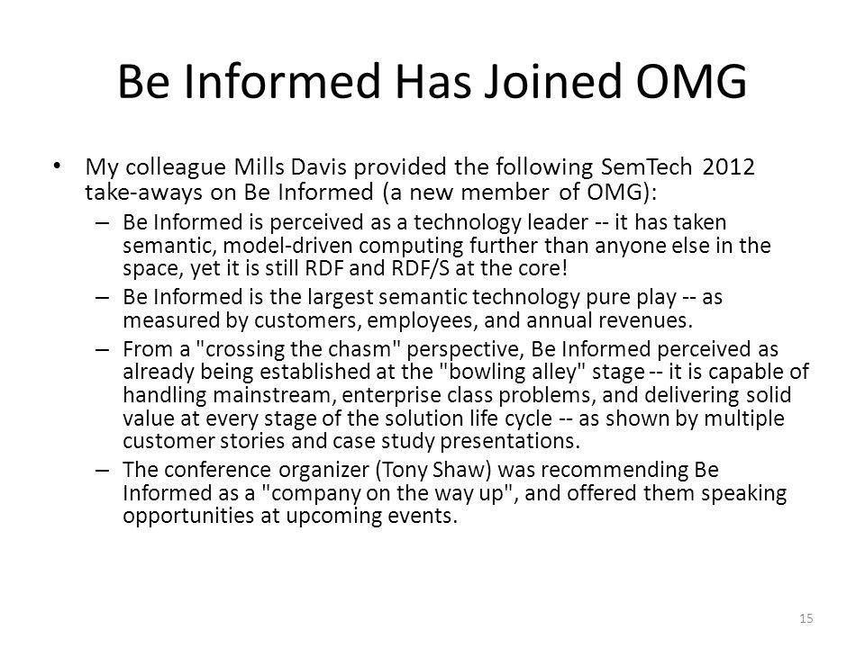 Be Informed Has Joined OMG My colleague Mills Davis provided the following SemTech 2012 take-aways on Be Informed (a new member of OMG): – Be Informed