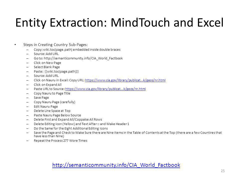 Entity Extraction: MindTouch and Excel Steps in Creating Country Sub-Pages: – Copy: wiki.toc(page.path) embedded inside double braces – Source: Add UR