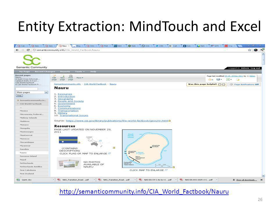 Entity Extraction: MindTouch and Excel 26 http://semanticommunity.info/CIA_World_Factbook/Nauru