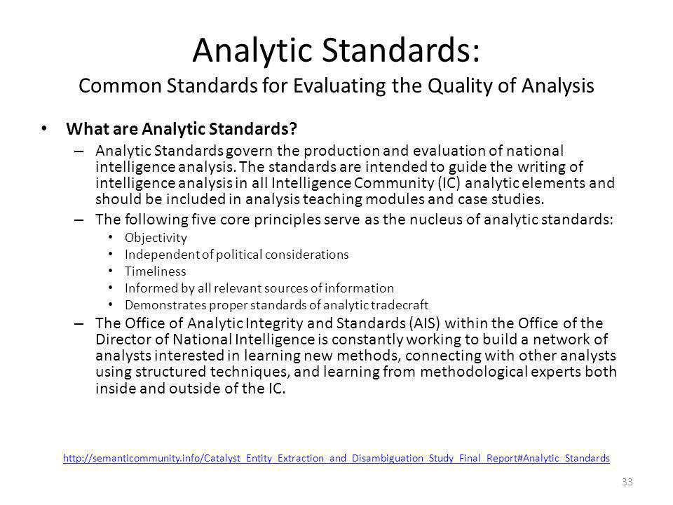 Analytic Standards: Common Standards for Evaluating the Quality of Analysis What are Analytic Standards? – Analytic Standards govern the production an