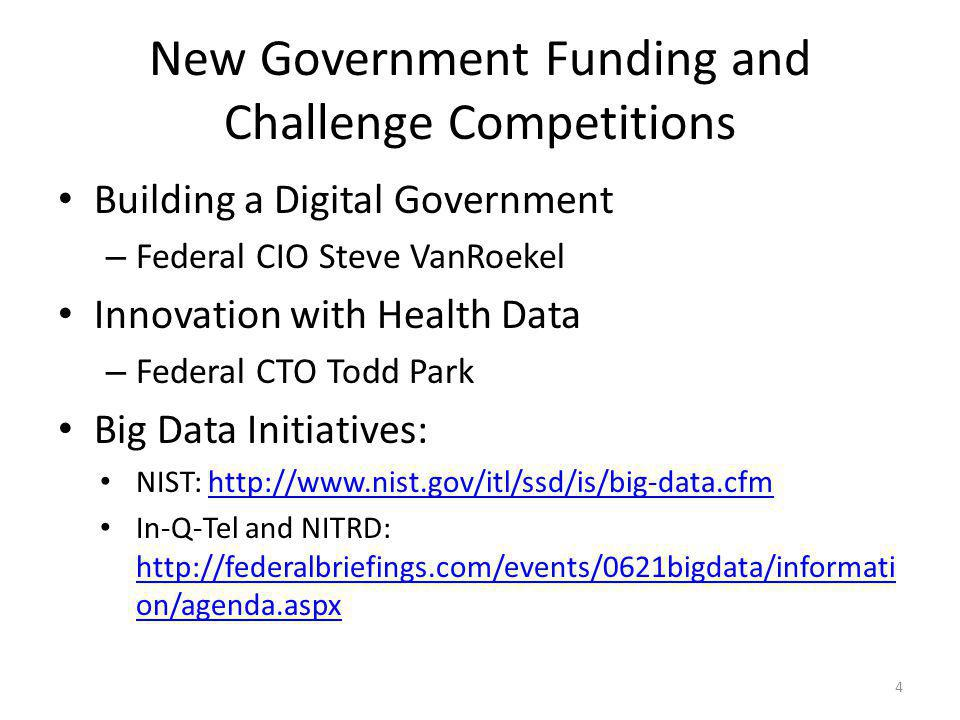 New Government Funding and Challenge Competitions Building a Digital Government – Federal CIO Steve VanRoekel Innovation with Health Data – Federal CT