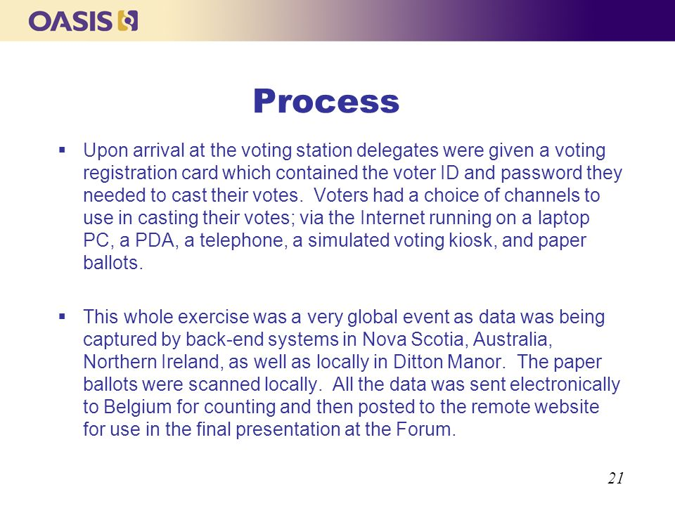 21 Process Upon arrival at the voting station delegates were given a voting registration card which contained the voter ID and password they needed to