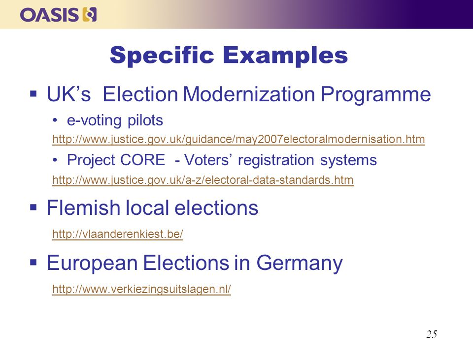 25 Specific Examples UKs Election Modernization Programme e-voting pilots http://www.justice.gov.uk/guidance/may2007electoralmodernisation.htm Project