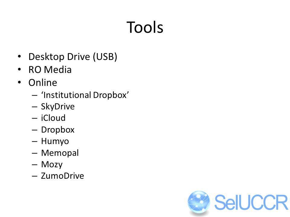 Tools Desktop Drive (USB) RO Media Online – Institutional Dropbox – SkyDrive – iCloud – Dropbox – Humyo – Memopal – Mozy – ZumoDrive