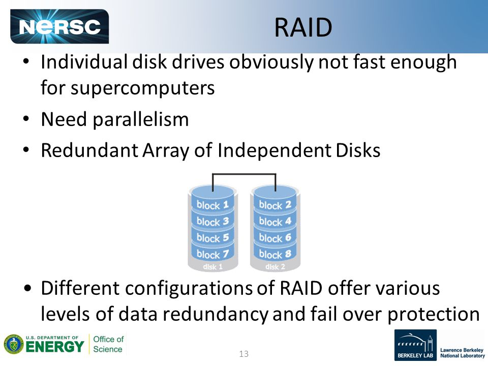 13 Individual disk drives obviously not fast enough for supercomputers Need parallelism Redundant Array of Independent Disks RAID Different configurations of RAID offer various levels of data redundancy and fail over protection