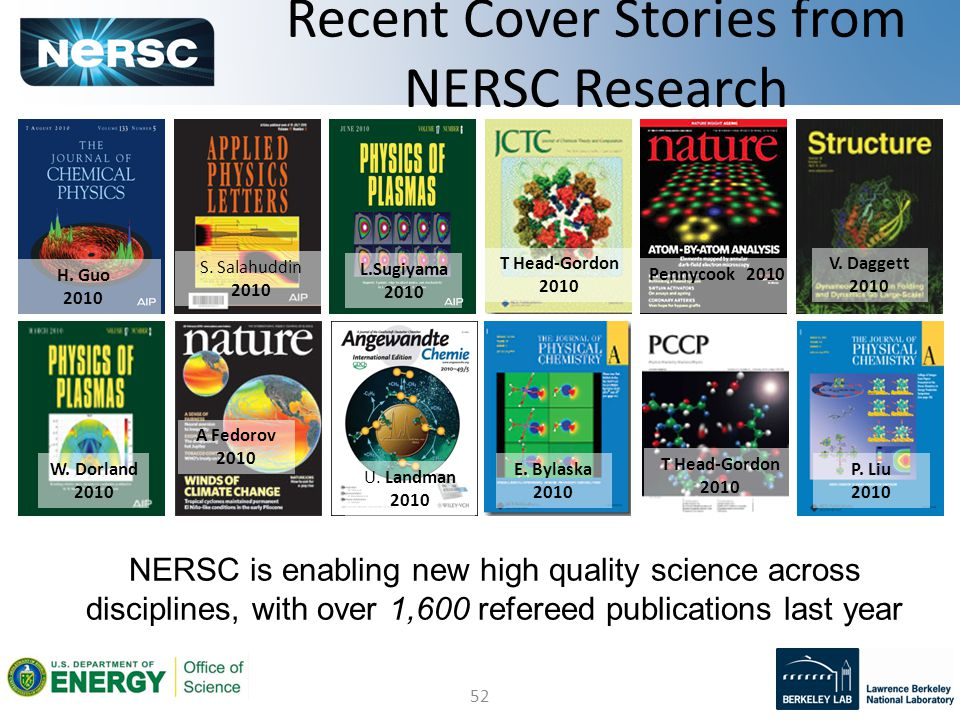 52 Recent Cover Stories from NERSC Research NERSC is enabling new high quality science across disciplines, with over 1,600 refereed publications last