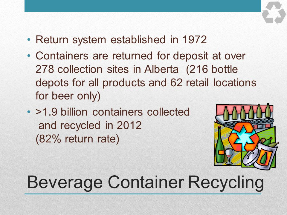 Beverage Container Recycling Return system established in 1972 Containers are returned for deposit at over 278 collection sites in Alberta (216 bottle