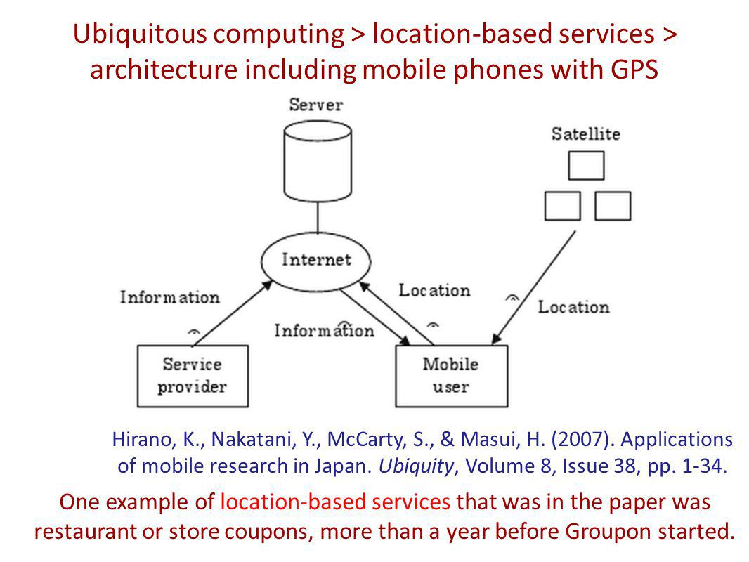 Ubiquitous computing > location-based services > architecture including mobile phones with GPS Hirano, K., Nakatani, Y., McCarty, S., & Masui, H.