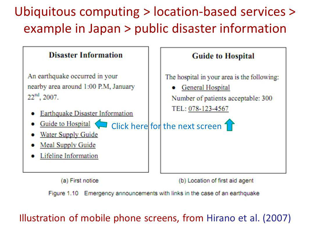 Ubiquitous computing > location-based services > example in Japan > public disaster information Illustration of mobile phone screens, from Hirano et al.